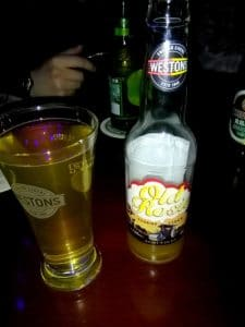 A bottle and glass of cider in beijing china