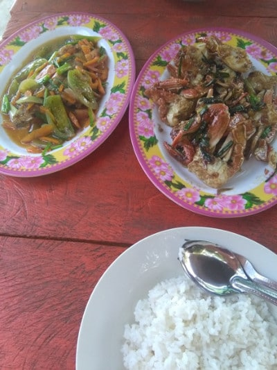 a plate of freshly caught crab with fish and rice on koh ta kiev island