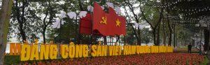 A welcome sign in Viatnamese in Hanoi Vietnam