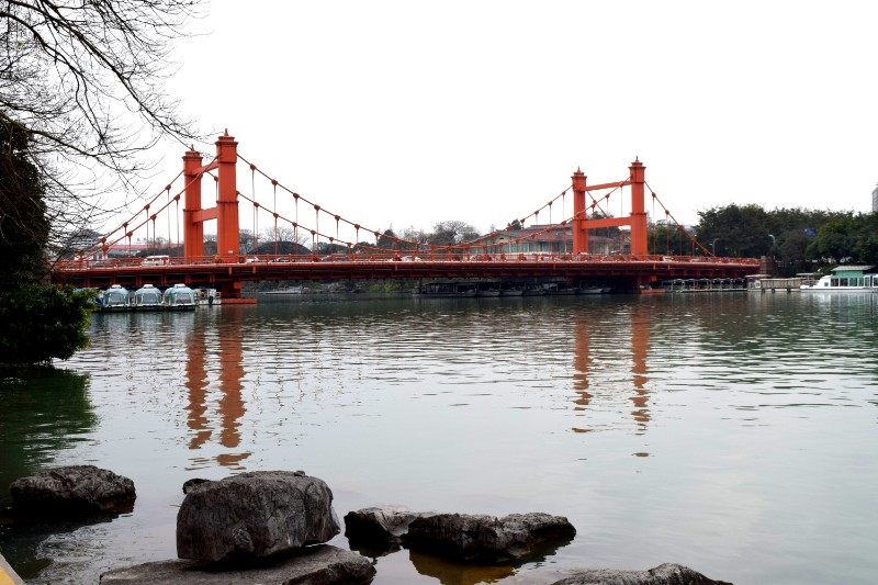 Red bridge over the Li River in Guilin