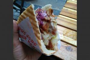 A chicken kebab from a street vendor in hanoi vietnam