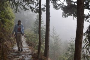 A girl in a blue denim jacket walking towards the camera along a path with the mist on her right