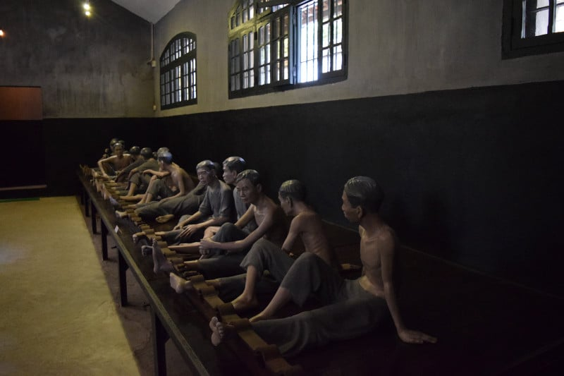 A monument inside the famous Hanoi Hilton war prison