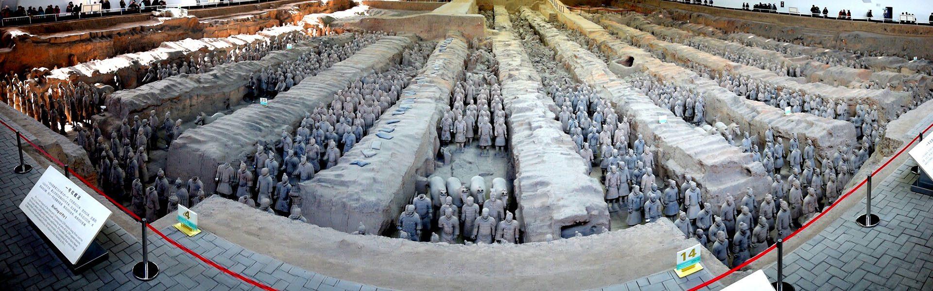 Rows of Terracotta Soldiers in Xian
