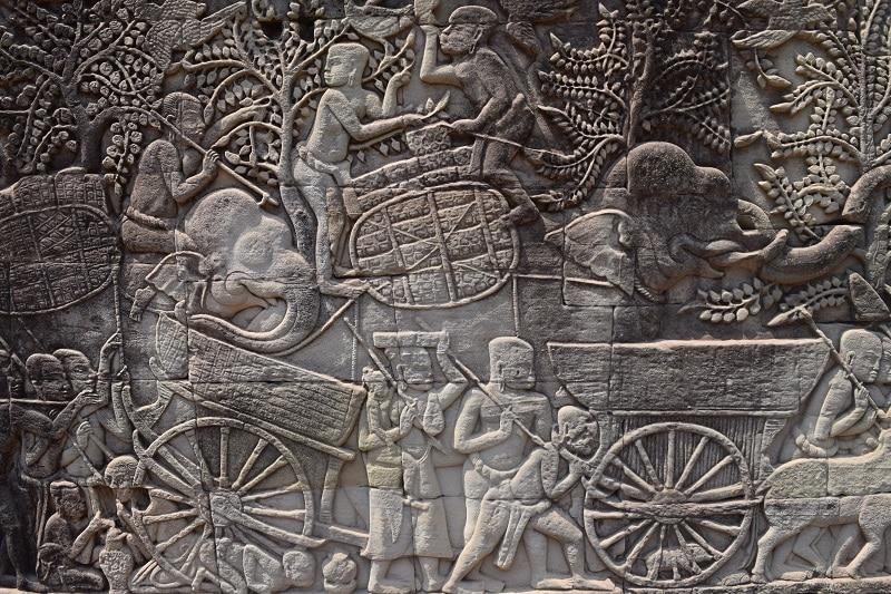 Intricate carvings of Angkor Wat
