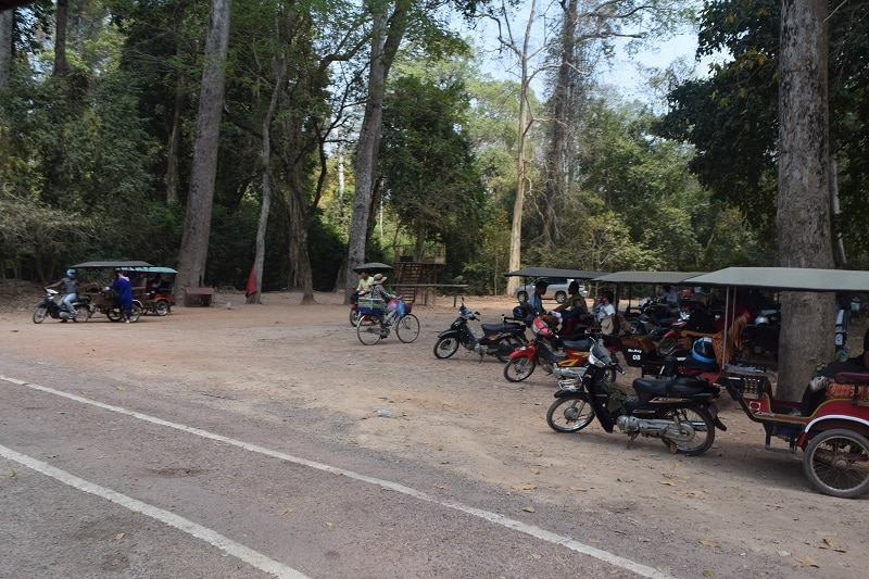 A collection of Tuk Tuk's in Angkor Wat