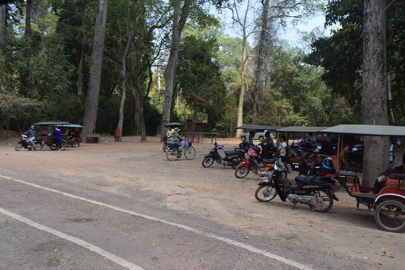 A collection of Tuk Tuk's in Angkor Wat