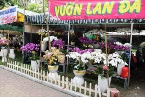 A flower stall in a Ho chi Minh flower market