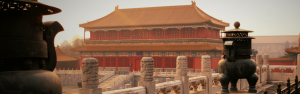 Inside the forbidden city on a typically polluted day in Beijing
