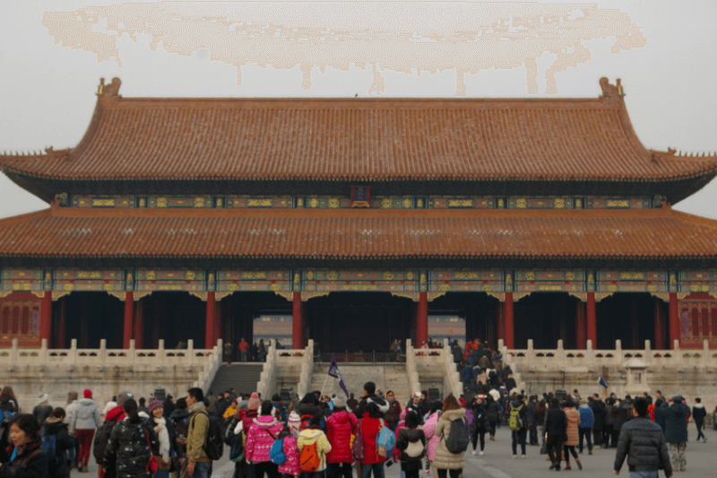 The entrance to one of the building inside the forbidden city
