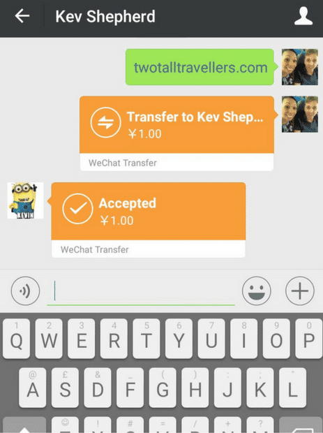 a screenshot of a conversation in wechat sending money to friends