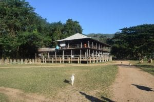 A large wooden building at elephant nature park Thailand