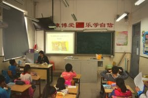 A group of chinese students in class in beijing