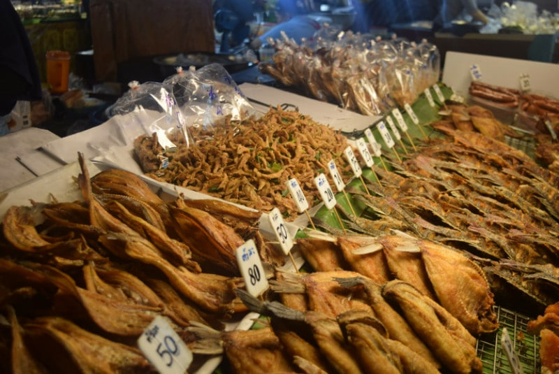 Lots of dried fish at a local thai market