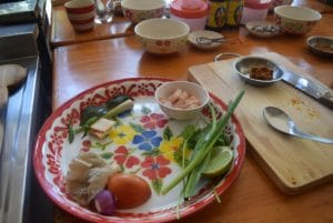 A plate of ingredients for a thai cooking school