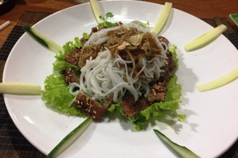 A meat and noodle dish in Asia