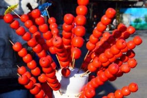 Red candy apple fruits in china beijing