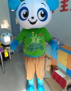 A man dressed up as a panda for a school in beijing