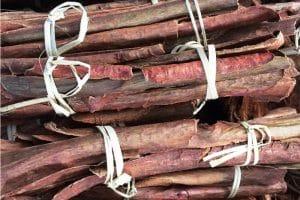 Bundles of bark used in cooking