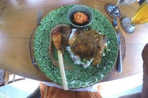 a Chicken Satay with rice
