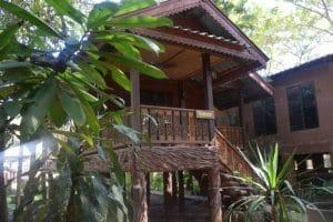 A wooden hut at elephant nature park