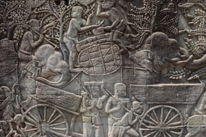 A very old intricate carvings wall in angkor wat cambodia