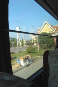 the view from the bus at the cambodian border