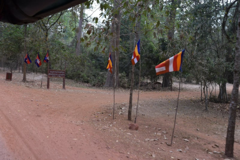 A line of cambodian flags inside angkor wat