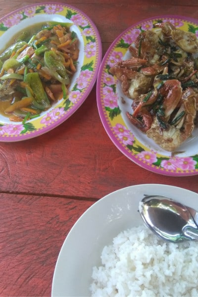A crab fish and rice dish on koh ta kiev island cambodia