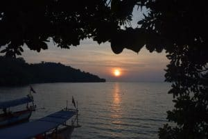 The vuew of a sunset from a tree house into the bay on koh ta kiev island