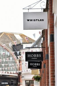A row of shops and their signs in windsor england