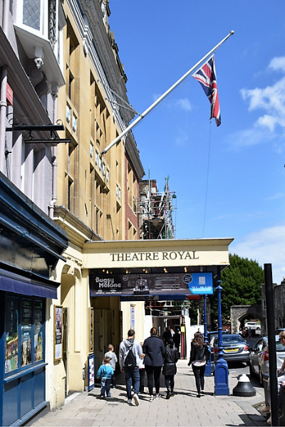 The front of the windsor royal theatre with a union jack hanging from a flag pole