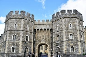 A large gatehouse at the entrance of windsor castle