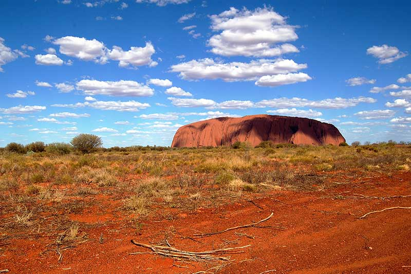 Ayers rock in Australia in the distance