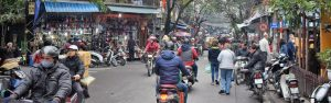 Busy motorbike traffic in Hanoi