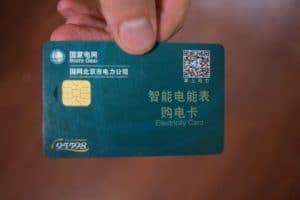 Green electricity card with QR card showing