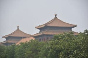 The tops of two buildings in the forbidden city Beijing