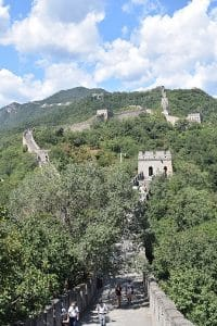 The great wall in Beijing winding through the hills
