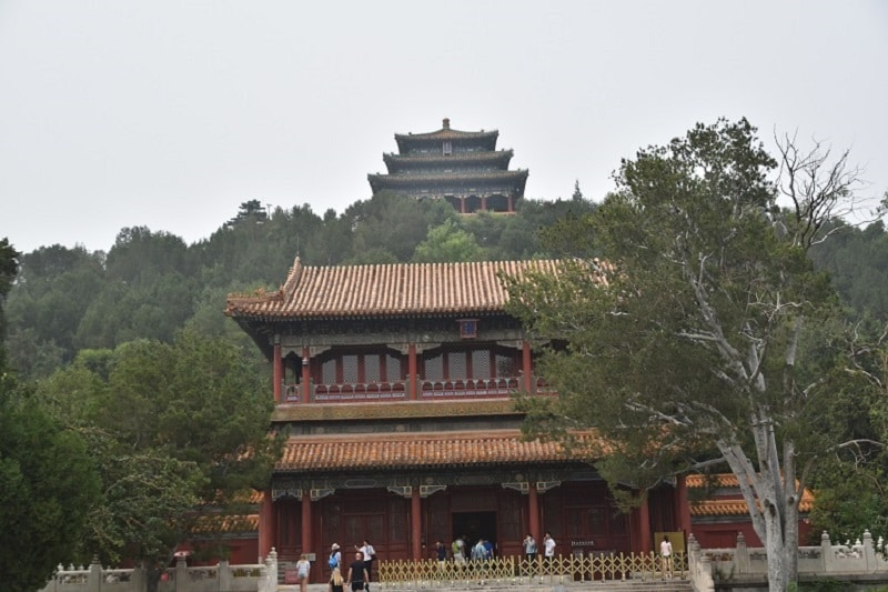 A temple on top of a hill at the back of the forbidden city