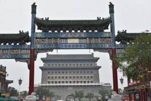 A large imposing chinese gatehouse