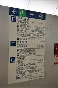 A blue and white subway sign in Beijing CBD showing the different exits of the station
