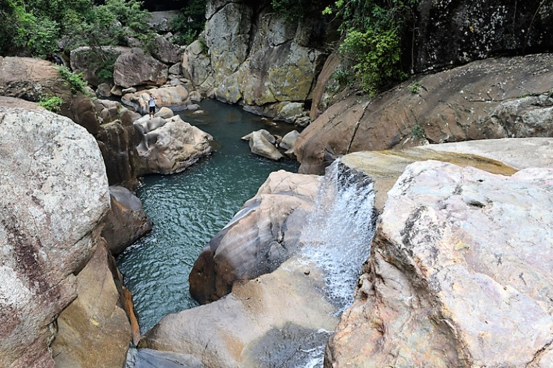 Standing over a waterfall with rocks and cascading water