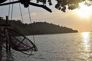 A cradle swing over the bay in cambodia