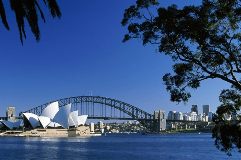 Blue water of Sydney Harbour and the bridge and Opera House in the background