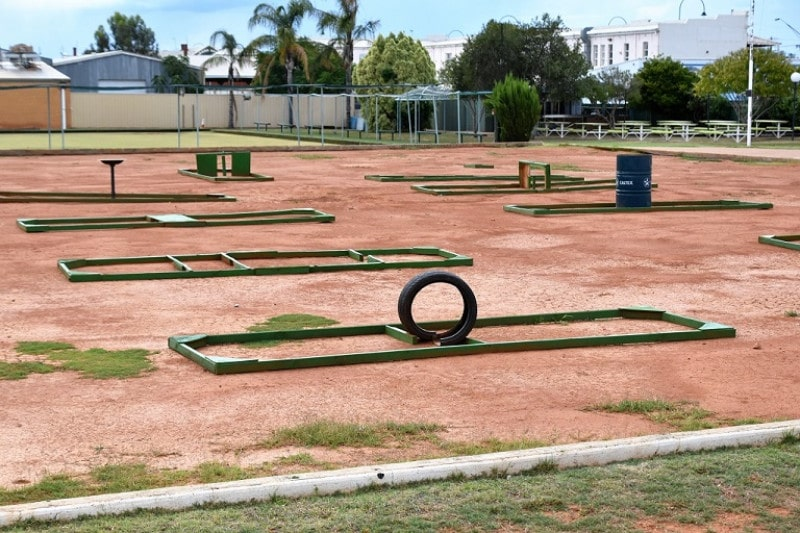 A mini golf course in an outback town australia