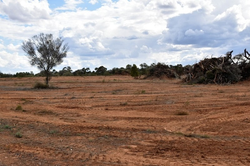 A bear area of red dirt in an outback town