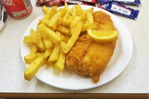 A traditional fish and chips