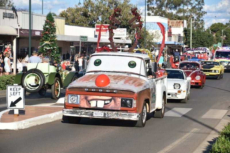 A car decorated with christmas themes in Cobar NSW