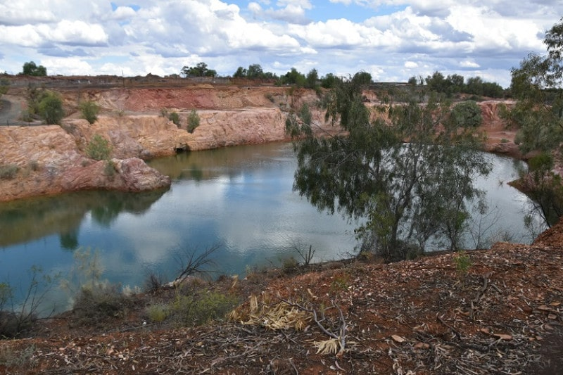 An old mining pit filled with water