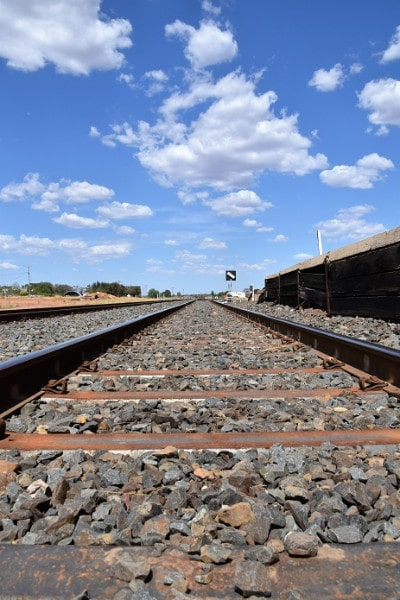 A train track at a station in outback NSW